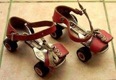 Tin roller skates worn over pumps - dangerous - had a nasty accident on these Retro 2, Skate Wear, Roller Skating, Tricycle, Retro Outfits, Good Old, Gladiator Sandals, Childhood Memories, Ale