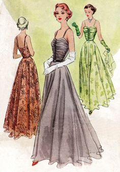 1950s vintage sewing pattern McCall 7667 evening ball gown cocktail dress bust 34 repro