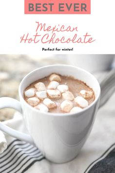 This recipe is perfect for when you need a change from regular old hot chocolate. Mexican Hot Chocolate is creamy, sweet and spicy, and tastes absolutely divine! Grab some hot chocolate mix, spice it up with cinnamon and nutmeg and enjoy with warm and comforting drink! #hotchocolate #recipe Best Chocolate Desserts, Mexican Hot Chocolate, Hot Chocolate Mix, Hot Chocolate With Marshmallows, Best Christmas Desserts, Winter Desserts, Fun Desserts, Christmas Treats, Best Dessert Recipes
