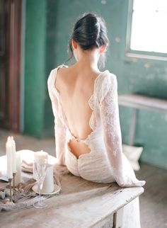 gorgeous open back lace gown