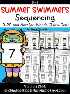 Summer Swimmers Sequencing Numbers 0-20 and Number Words (zero-ten) math centers - pocket chart idea - concentration/memory game - counting sets - kindergarten and first grade math - RTI - $