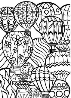 Coloring Page for Adults Hot Air Balloons Hand by BigTRanchSoap zentangle Adult Coloring Pages, Coloring Pages For Grown Ups, Coloring Pages To Print, Free Printable Coloring Pages, Coloring For Kids, Coloring Sheets, Coloring Books, Colouring Pages For Adults, Coloring Worksheets
