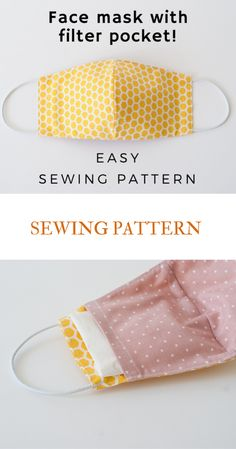 Face Mask Sewing Pattern PDF Mask with filter pocket Washable Reusable Mask Dust mouth Mask Beginner project DIY mask for kids man woman - Easy Sewing Projects 2020 Easy Face Masks, Diy Face Mask, Homemade Face Masks, Facemask Homemade, Sewing Hacks, Sewing Tutorials, Sewing Tips, Beginner Sewing Projects, Small Sewing Projects