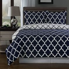 Modern Moroccan Navy Blue and White Cotton Duvet Comforter Cover and Shams Set - Geometric Trellis Lattice Pattern Reversible 3 piece Bedding Set - Matching Window panels curtains available. Great look for a trendy bedroom decor!