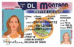 This is Montana (USA State) Drivers License PSD (Photoshop) Template. On this PSD Template you can put any Name, Address, License No. DOB etc and make your personalized Driver License.  You can also print this Montana (USA State) Drivers License from a professional plastic ID Card Printer and use as per your requirement.