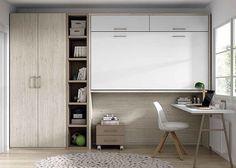 Dormitorio juvenil con litera abatible alta armario y escritorio.