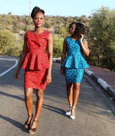 African sotho Shweshwe dresses for 2020 ⋆ African Wear, African Fashion, African Symbols, Shweshwe Dresses, Kitenge, Traditional Dresses, Tartan, Peplum Dress, Modern