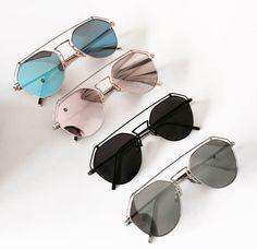 * Amazing statement reflectors in soft pink. * Feature metal line across top Cat Eye Sunglasses, Mirrored Sunglasses, Eyewear, Metal, Amazing, Silver, Pink, Top, Accessories
