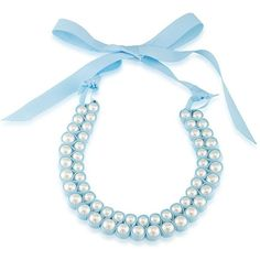 1st And Gorgeous Faux Pearl Bib Necklace ($38) ❤ liked on Polyvore featuring jewelry, necklaces, white pearl and sky blue, fake pearl jewelry, fake pearl necklace, artificial jewellery, graduation gifts jewelry and blue sky jewelry