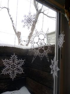Decorate Your Windows with Crocheted Snowflakes. Has links to tons of different snowflake patterns.