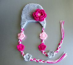 Crochet Baby Girl Hat with Earflaps and Flowers - Crystal and Taylor $14.99 + 2.80 (1.00 each additional)