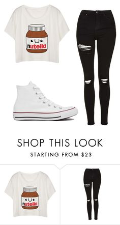 """Untitled #202"" by cuteskyiscute ❤ liked on Polyvore featuring Topshop and Converse"
