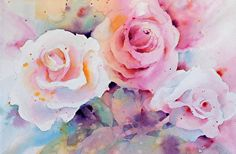 Roses3 by Yvonne Joyner Watercolor ~ 16 in including mat x 20 in. including mat