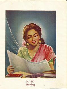 Heritage of India: Beautiful Indian Woman Reading Newspaper vintage art print