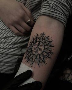 Dot Work Sun Tattoo On Sleeve