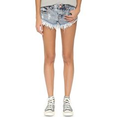 One Teaspoon Bonitas Shorts (7,270 INR) ❤ liked on Polyvore featuring shorts, blue malt, low rise shorts, one teaspoon shorts, cut off shorts, cut-off y one teaspoon