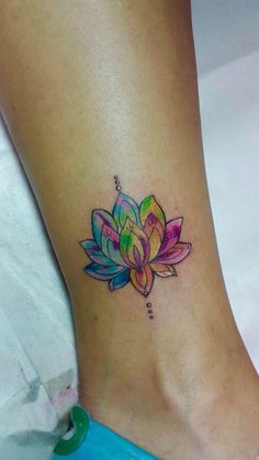 Watercolor Lotus Ankle Tattoo Placement Ideas for Women at MyBodiArt.com