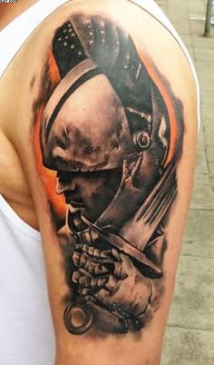 Realism Warrior Tattoo For Biceps