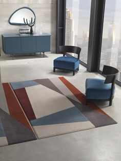 Handmade rectangular polyamide rug with geometric shapes SPLIT by Besana Moquette