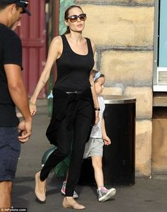 Angelina Jolie wearing Saint Laurent belt Chloe Metallic Scalloped Ballerina Flats Tom Ford Alicia sunglasses