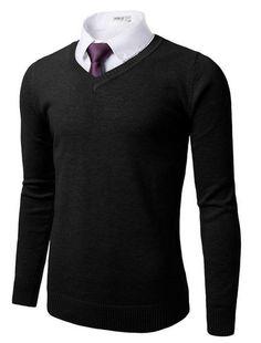 Doublju Mens V-neck Basic Pullover Sweater #doublju