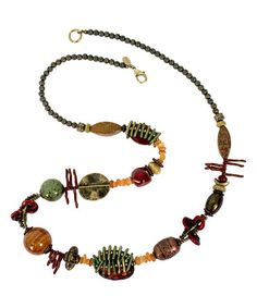 Look what I found on #zulily! Earthtone Bead Necklace #zulilyfinds