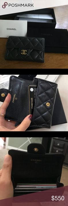 4560366991ab 100% Authentic Chanel Card Holder EUC Chanel Card Holder. Black caviar  leather with gold