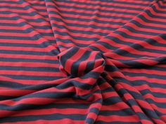 Stripe Cotton Jersey - Navy & Red - Fabric Godmother