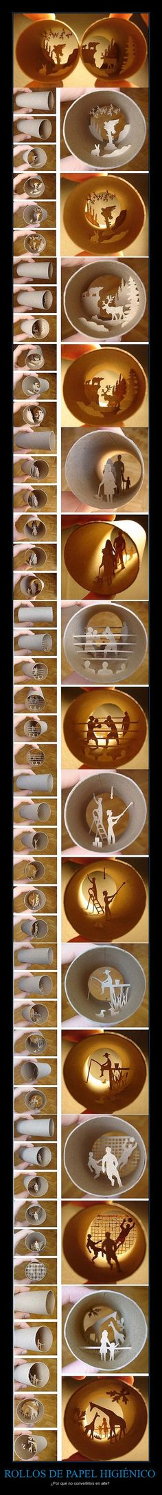 Toilet paper / paper towel rolls --> art  wow!