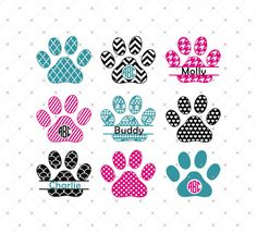 Paws Monogram Frames SVG Cut Files for Cricut and Silhouette