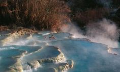 Natural hotsprings in the wild in Saturnia, Italy