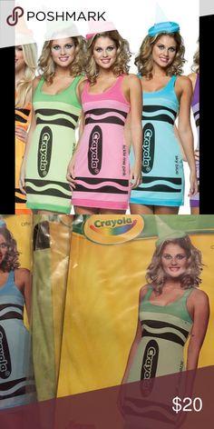 Scream in' Green Crayon Tank Dress Costume 2 piece set: Dress  Headband Hat Fits sizes 4-10 Rasta Imposta Dresses Mini