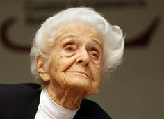 Rome's mayor says biologist Rita Levi-Montalcini, who conducted underground research in defiance of Fascist persecution, and went on to win a Nobel Prize for helping unlock the mysteries of the cell, has died at her home in the city. She was (via AP) Great Women, Amazing Women, I Look To You, Nerd, Brave Women, Biologist, Nobel Prize, Women In History, Powerful Women