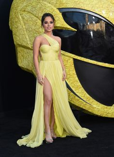 Becky G. attends the red carpet arrivals in a yellow gown for the world premiere of Power Rangers at the Village theatre in Hollywood, California on March Becky G Album, Becky G Style, Hot Pink Weddings, Yellow Gown, G Photos, Strapless Dress Formal, Formal Dresses, Two Piece Outfit, Red Carpet Fashion