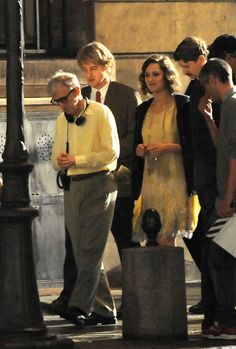 Woody Allen directs Marion Cotillard, Alison Pill and Owen Wilson on the set of 'Midnight in Paris' at Maxim's.