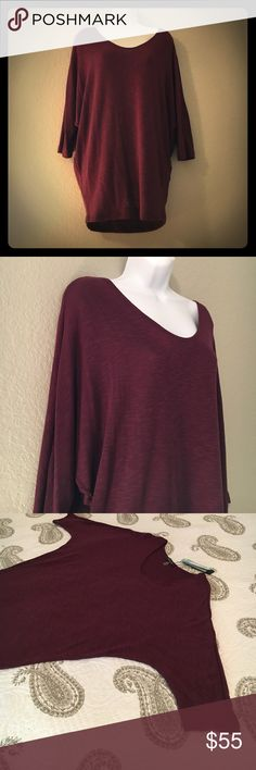 """Dolman Sleeve Top NWT! This Burgundy Dolman sleeve top, also known as """"The Bowie"""", is a Laila Jayde best seller! It is comfortably chic ! Made with the perfect slub fabric that gives the garment a unique texture, and compliments any body type.   https://shop.lailajayde.com/collections/dolman/products/dolman-sleeve-top?variant=1433127300. laila jayde Tops"""