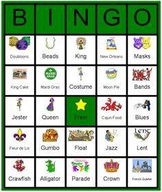 A kid friend Mardi Gras Bingo Card. I actually made this using the Instant Bingo Card program. Mardi Gras Centerpieces, Mardi Gras Decorations, Mardi Gras Food, Mardi Gras Party, Mardi Gras Activities, Bingo For Kids, Mardi Grad, Bingo Sheets, Carnival Games For Kids