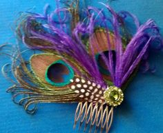 Peacock, peacock fascinator, Holiday party, Etsy wedding, Peacock wedding, READY TO SHIP, Wedding, peacock barrette, feather, comb