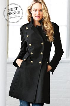 Report for fashion duty in the must-get coat of the season, made of supersoft wool. | Wool Military Coat