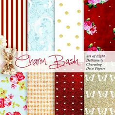 free printable papers from Nash at Craft a Doodle Doo! She calls the collection Charm Bash. You can download these to use as digital page backgrounds or you can print 'em out to use as pretty invites, super-gorg giftwrap papers, a tiny gallery frame to hang or even mini notebooks to give as special favors!