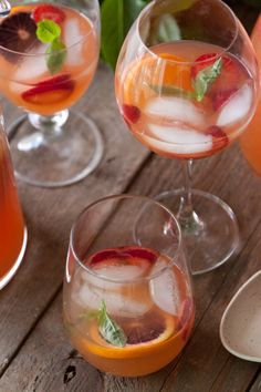 Sangria! via whatsgabycooking.com  http://whatsgabycooking.com/citrus-and-basil-sangria/