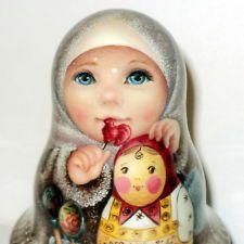 1 of kind painting art roly poly russian girl Fevronia & matryoshka nesting doll