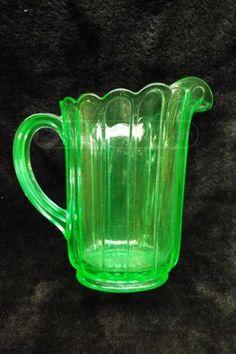 shopgoodwill.com: Green Vaseline Glass Pitcher