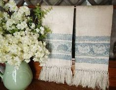 Pair Antique French Chateau Blue Cream Damask Linen Fringed Towels |  Vintageblessings
