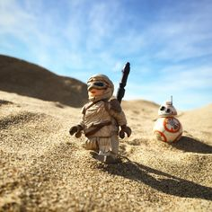 Rey and BB-8 Star Wars Force Awakens original photographic art print using LEGO figures