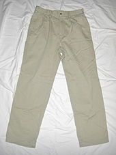 Chino Cloth-- is a twill fabric, originally made of 100% cotton. The most common items made from it, trousers, are widely called chinos. Today it is also found in cotton-synthetic blends. Developed in the mid-19th century for British and French military uniforms, it has since migrated into civilian wear. Trousers of such a fabric gained popularity in the U.S. when Spanish–American War veterans returned from the Philippines with their twill military trousers.