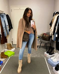 fashion blogger mia mia mine wearing beige combat boots with denim and a beige coatigan. check out my blog for this beige outfit aesthetic. #casualootd #falloutfit #booties #combatboots Combat Boot Outfits, Combat Boots, New York Fashion Week 2017, All Black Looks, Athleisure Outfits, Instagram Outfits, Nordstrom Anniversary Sale, Casual Fall Outfits, Spring Outfits