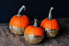 Trio of pumpkins dipped in glitter