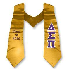 delta sigma pi graduation stole with twill letters twill