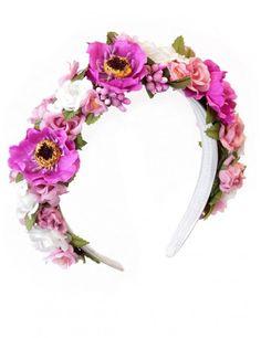 Blütenhaarreifen Modell Flower Power in Pink